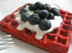 Red velvet waffle with cream cheese drizzle