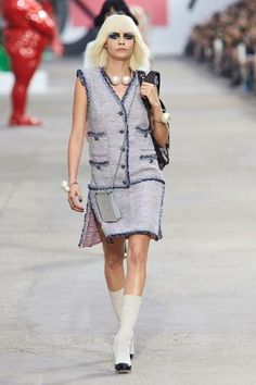 Cara Delevingne running the runway as usual in Chanel