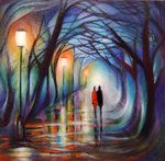 wall art, park, colors, color pallets, one point perspective, artist, paintings, friend, street lights