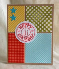 Nice, do-able birthday card made with our Birthday Seal made for the Operation Write Home Blog Hop. Today's the last day (May 28th) to check out the blog post with this card in it and find a coupon code for 20% off your total order at check-out from our Web site.