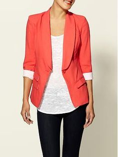 jacket, coral blazer, style, colors, outfit