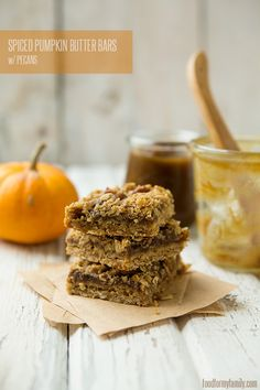 Spiced Pumpkin Butter Bars with Pecans #recipe via FoodforMyFamily.com