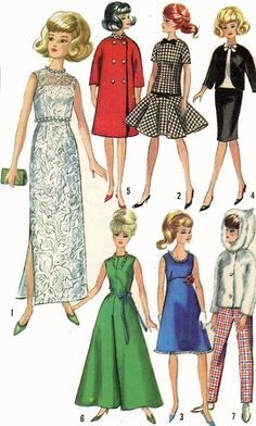 Vintage Doll Clothes PATTERN 6208 for 11.5 Barbie Midge Annette Mitzi Gina Kay