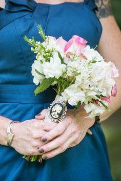 Vintage Navy & Ivory DIY Wedding | Confetti Daydreams - Bridesmaids bouquets with vintage brooches ♥ #Vintage #Ivory #Navy #DIY #Wedding