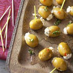 Gorgonzola-Thyme-Stuffed Olives gorgonzolathymestuf oliv, dip, appet, bite, food, oliv recip, eat, olives, parti