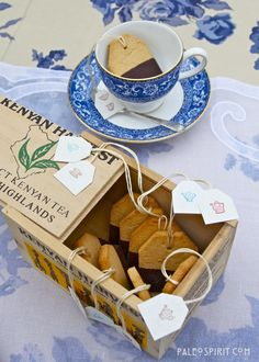 Let's have a Tea Party!  These are Paleo Shortbread Cookies Shaped Like Tea Bags and dipped in chocolate.  Yummy!