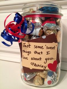 Just a little gift for my boyfriend to show him I love him. Each candy has something written on it. Super easy and inexpensive! valentine day ideas, gift ideas, valentine ideas, little gifts, valentine gifts, boyfriend gifts, valentine day gifts, simple gifts, christmas gifts