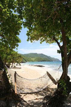 St. Croix, USVI    Relaxing on a hammock on Davis Beach -- this is the island life.