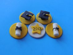 Cake and cupcake topper for GRADUATION - made of fondant - Graduation cap, Diploma ,Year Plaque via Etsy