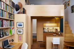 Tiny NYC Apartment Renovation Full of Nooks and Cubbies by Tim Seggerman >> http://design-milk.com/a-tiny-nyc-apartment-renovation-by-tim-seggerman/