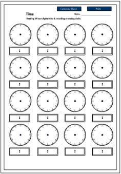 24 hour time printable