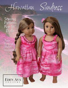 Free American Girl Clothes Patterns   American Girl Doll clothes pattern Hawaiian Sundress   Liberty Jane ...