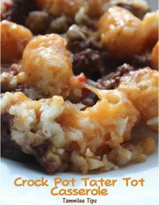 Slow Cooker Beef and Tater Tot Casserole - Your family will go wild over one of the best and easiest slow cooker casserole recipes around. This recipe incorporates ground beef, Cheddar cheese, savory tater tots and more.