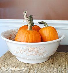 holiday, white bowl, falldecor, decorating pumpkins