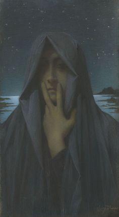 Lucien Levy-Dhurmer (1865-1953) ~Le silence, 1895. lucien levi, 1895, musé dorsay, levi dhurmer, lucien lévydhurm, art, levydhurm 18651953, lucien levydhurm, le silenc