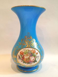 Baccarat Opaline Glass Vase with Handpainted Flower c.1890