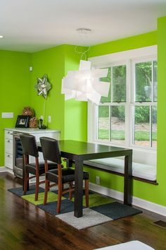 Lime green accent wall for the home pinterest for Lime green dining room ideas