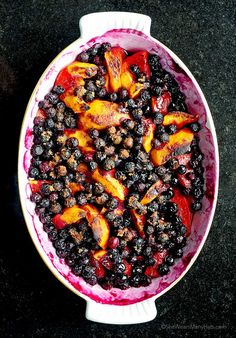 baked peached and blueberries