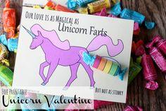 free printable unicorn valentine - funny!
