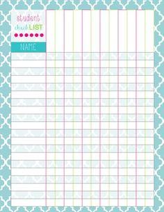 Homework chart for teachers