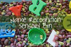 Name Recognition Sensory Bin - great idea!