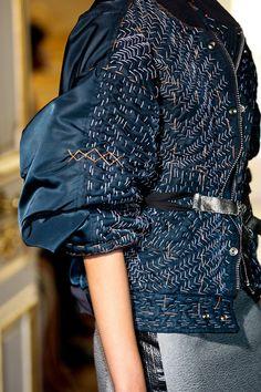 Maison Martin Margiela indigo, fashion details, blue fashion, jean jackets, bomber jackets, stitch, textil, martin margiela, contemporary design