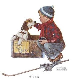 Norman Rockwell Painting - puppy dog nursery