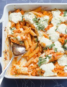 Baked Penne with Roasted Red Pepper Sauce and Goat Cheese.  Looks DELISH