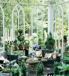 I want a room like this enclosed in glass, like the conservatory at Winterthur -- surrounded by the outdoor trees, with wood furniture and lots of plants. Garden Room, Garden Tour, Wood Furniture, Church Windows, Old Windows, Deck, Old Churches, Gothic Garden, Dream Rooms