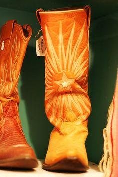 starburst cowboy boots, orange
