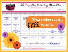 June Crockpot Meal Plan