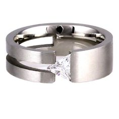 Womens Stainless Steel Russian Ice on Fire Diamond CZ Promise Friendship Wedding Band Ring (avail. in sizes 6 to 9)