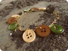 Button Charm Bracelet Green Brown Tan Button Accessories autumnandamb, tan button, charm bracelets, brown tan, green brown, craft idea, buttons, button charm, bracelet green