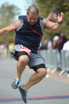Michael Canle completing the Woodlands Marathon on March 3 in VIVOBAREFOOT Evo