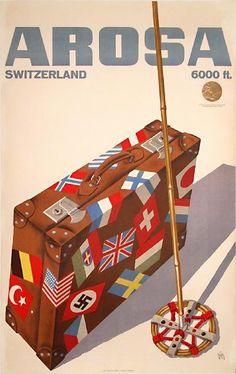 vintage ski poster. Arosa, Switzerland, 1936,  Alex Werner Diggelmann