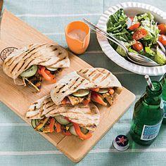 Turkey Pitas with Tahini-Yogurt Sauce | Cooking Light #myplate #veggies #protein #dairy #wholegrain