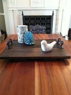 Reclaimed Dark Stained Pallet Wood Flat Serving Tray with Metal Handles 49