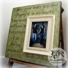 Picture Frame, I Carry Your Heart With Me, Valentines Day, Wedding Love Anniversary Gift 16x16 on Etsy, $75.00