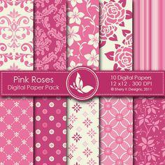 invitations, pink roses, rose digit, digital papers, scrapbooking, shops, paper pack, making cards, digit paper