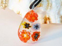 Pendant Fused Glass Millefiori Flowers Necklace by uniquenique, $20.00 #handmade #onfireteam #teamfest #pendant #jewelry #accessories #fused glass