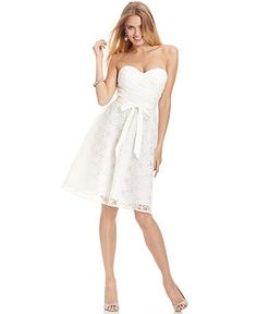 Marina Strapless Belted Lace Dress - Dresses - Women - Macy's