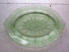 Green Oval Server Dish Cameo Design Depression Glass - Vintage 1930sKitchen by dandelionvintage 25.00