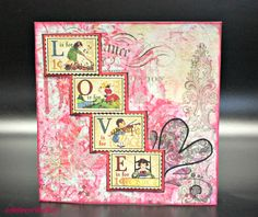 "Handmade ""L.O.V.E."" Vintage-Style 'Postage Stamp' Card, by AmrcnWldFlwr Designs on Etsy, $4.50."