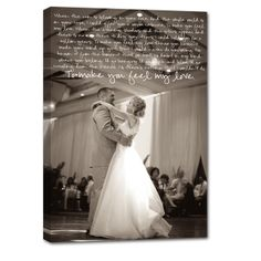 "Wedding Photo & Lyrics made just for your home to remind you both of when you said ""i do"""