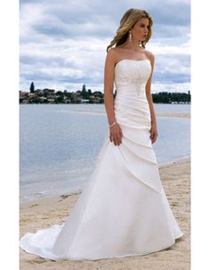 Fashionable A-Line Strapless Chapel Train Satin Wedding Dresses for Brides