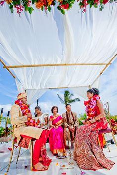 Four Seasons~ Hawaii Garden Wedding facing towards the ocean♥ Hawaiian Hindu Wedding IQphoto Studio BFIW072