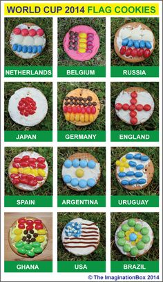 Grab some cookie dough, jelly beans, sprinkles and icing and serve up some World Cup 2014 Edible Flag Medals