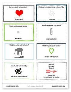 Kid Inspiration - All for the Boys - Valentine Printable JokeNotes!