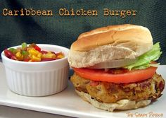 Caribbean Chicken Burgers - It's summertime and that means the grills are glowing and burgers are searing. For something a little different in the burger category...something to spice things up a bit! #RGParty #RedGoldRecipes chicken burger