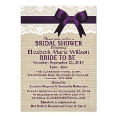 Ivory Lace & Purple Bow, Burlap Bridal Shower Invitations